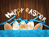 "Easter background with eggs and lettering ""happy easter"" — Stock Photo"