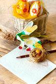 пасхальная открытка с кролик и яйца — Стоковое фото