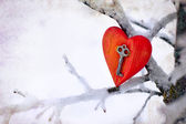 Vintage card with red heart on the snow tree branches — Stok fotoğraf