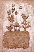 Vintage decorativ složení s dvěma ptáky v lásce — Stock fotografie