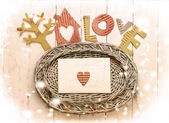 Wakacje wzór karty z domu i serce jako symbol miłości — Zdjęcie stockowe