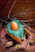 Paasei met colorfull lint als een nest — Stockfoto