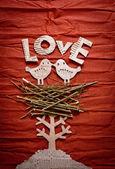 Vintage decorativ samenstelling met twee vogels in de liefde — Stockfoto