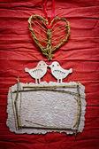Composizione decorativi d'epoca con due uccelli in amore — Foto Stock