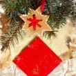 Christmas decoration over grunge paper background — Stock Photo #24968029