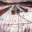 Railway vintage card with railway tracks — Stock Photo