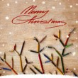 Vintage christmas card whit colorful pencils as tree branches — Stock Photo #24969003