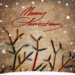Vintage christmas card whit colorful pencils as tree branches — Stock Photo