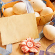 Easter basket on paper background, easter holidays card — Stock Photo