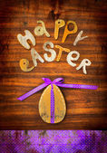 """Easter background with egg and lettering """"happy easter"""" — Photo"""