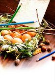 Huevos de pascua en el nido — Foto de Stock