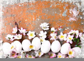 Easter background with eggs and flowers — Stock Photo