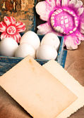 Easter basket on paper background — Stock Photo