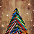 Vintage christmas card whit colorful pencils as christmas tree — Stock Photo