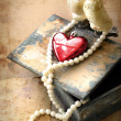 Stock Photo: Two pigeons and red heart as symbol of love