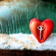Key with the heart as a symbol of love - Stock Photo