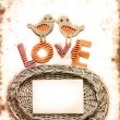 Vintage holidays card with a house and heart as a symbol of love, valentines day card with word love — Stock Photo