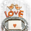 "Vintage holidays card with a house and heart as a symbol of love, valentines day card with word ""love"" — Stock Photo"