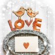 "Vintage holidays card with a house and heart as a symbol of love, valentines day card with word ""love"" — Stock Photo #24971309"