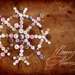 Decorative christmas background with buttons as snowflake, snowflake on dark rusty wooden background - Stock Photo