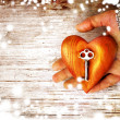 Heart with the key in women hand as a symbol of love — Stock Photo #24975073
