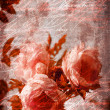 Old grunge vintage postcard with beautiful roses — Stock Photo