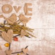 Vintage decorativ composition with two birds in love - Stock Photo