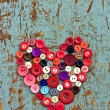 Red heart background on vintage old surfac — Foto Stock