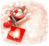 Heart as a symbol of love, vintage card with red heart on grunge old background, valentines day background — Stock Photo