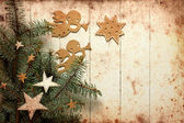 Christmas decorations on christmas tree — Stock Photo