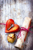 Key with the heart ,rose and letter as a symbol of love — Stock Photo