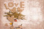 恋に 2 羽の鳥とビンテージ真空蒸着組成 — ストック写真