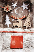 Juldekoration över grunge bakgrund — Stockfoto