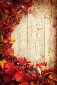Autumn frame from ashberry and maple leaves on wooden plates with grunge texture — Стоковое фото
