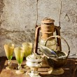 Set of old vintage utensils with grunge texture - Foto de Stock