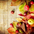 Vintage Autumn border from apples and fallen leaves on old wooden table — Stock Photo #24980941