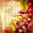 Vintage Autumn border from apples and fallen leaves on old wooden table — Stock Photo #24980999