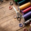 Stock Photo: Old sewing accessories