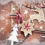Christmas decoration over grunge background — Stock Photo #24981489