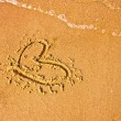 Hearts drawn in beach, summer background — Stock Photo #24982009