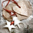 Christmas heart with star and tree on vintage paper background — ストック写真