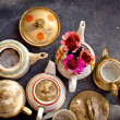 Vintage old Porcelain service for coffee and tea — Stock Photo