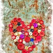 Red heart background on vintage old surface — Stock Photo #24985461