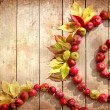 Vintage Autumn border from apples and fallen leaves on old wooden table. — Stock Photo #24985785