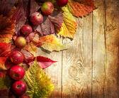 Frontera otoño cosecha de manzanas y hojas caídas en mesa de madera antigua — Foto de Stock