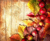 Vintage Autumn border from apples and fallen leaves on old wooden table — Foto Stock