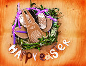 "Easter background with eggs, bunny and lettering ""happy easter"" — Stock Photo"