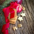 Christmas decorations of apples, stars, tree branches, pine cones,cookies with red ribbon — Stock fotografie