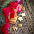 Christmas decorations of apples, stars, tree branches, pine cones,cookies with red ribbon — Stockfoto #35724497