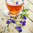 Herbal tea with flowers — Stock Photo